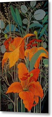 Metal Print featuring the painting Lilies by Marina Gnetetsky