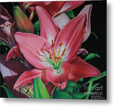 Metal Print featuring the painting Lily's Garden by Pamela Clements