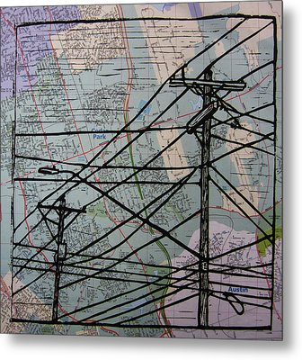 Lines On Map Metal Print by William Cauthern
