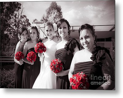 Lineup Of Bride And Bridesmaides Metal Print by Jorgo Photography - Wall Art Gallery