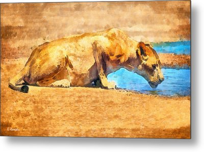 Lioness Drinking Metal Print by George Rossidis