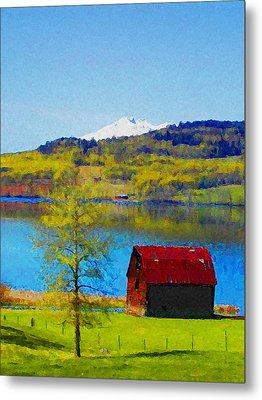Little Barn By The Lake Metal Print by Lenore Senior and Constance Widen