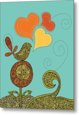 Little Bird In The Flower Metal Print by Valentina Ramos