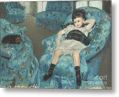 Little Girl In A Blue Armchair Metal Print by Celestial Images