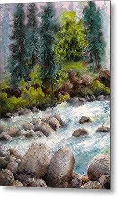 Little Susitna River Rocks Metal Print by Karen Mattson