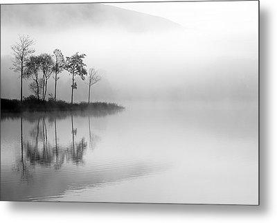 Loch Ard Trees In The Mist Metal Print by Grant Glendinning