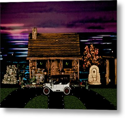Log Cabin Scene At Sunset With The Old Vintage Classic 1913 Buick Model 25 Metal Print by Leslie Crotty