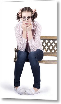 Lonely Business Girl Sitting On Park Bench Metal Print by Jorgo Photography - Wall Art Gallery