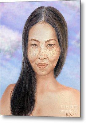 Long Haired Natural Asian Beauty Metal Print