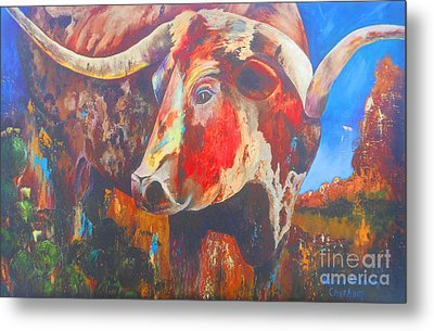Metal Print featuring the painting Longhorn Bull Business by Karen Kennedy Chatham
