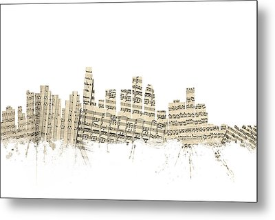 Los Angeles California Skyline Sheet Music Cityscape Metal Print by Michael Tompsett