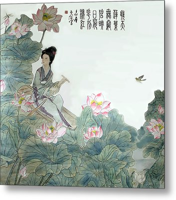 Lotus Pond Metal Print