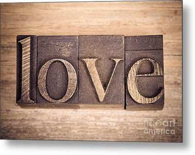 Love In Printing Blocks Metal Print by Jane Rix