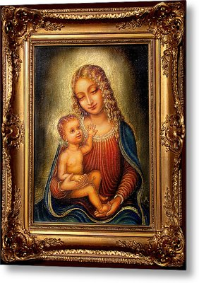 Metal Print featuring the painting Madonna Beata by Ananda Vdovic