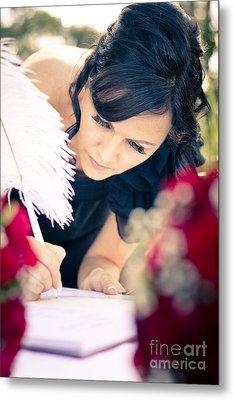 Maid Of Honour Signing Wedding Registar Metal Print