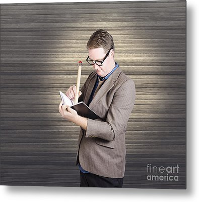 Male Administration Clerk Writing Diary Notes Metal Print