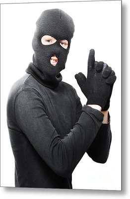 Male Criminal In Mask Making A Hand Gun Gesture Metal Print