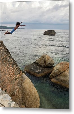 Man Jumping Off Flag Rock Bastion Metal Print by Panoramic Images