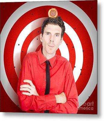 Man Standing In Front Of Target Sign With Apple Metal Print
