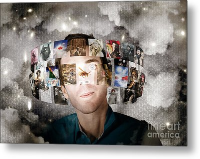 Man Streaming Media With Cloud Server Informatics Metal Print by Jorgo Photography - Wall Art Gallery