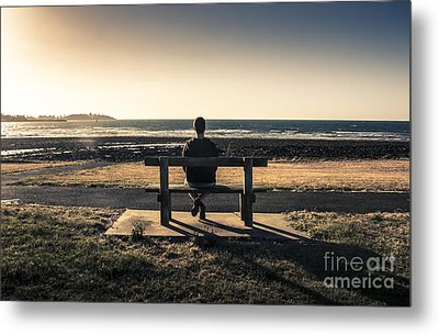 Man Watching Australian Sunset On Park Bench Metal Print