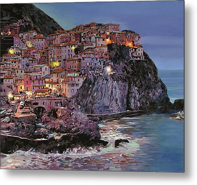 Manarola At Dusk Metal Print by Guido Borelli