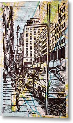 Manhattan On Map Metal Print by William Cauthern