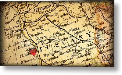 Map Of Florence Tuscany Italy Europe In A Antique Distressed Vin Metal Print by ELITE IMAGE photography By Chad McDermott