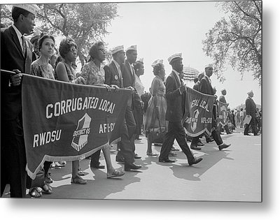 Marchers Carrying Labor Union Banners Metal Print by Stocktrek Images