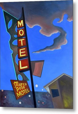 Metal Print featuring the painting Marco Polo Motel by Sally Banfill