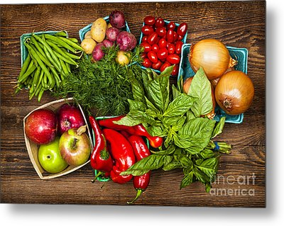 Market Fruits And Vegetables Metal Print by Elena Elisseeva