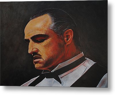Metal Print featuring the painting Marlon Brando The Godfather by David Dunne