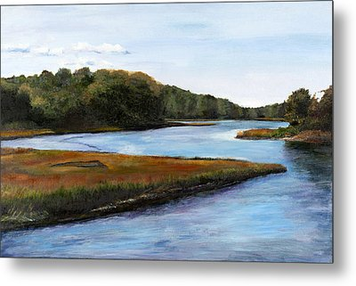 Metal Print featuring the pastel Marshside by Cindy Plutnicki