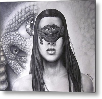 Masked Beauty Metal Print