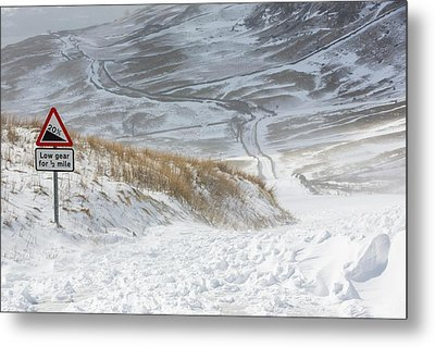 Massive Snow Drifts Blocking A Road Metal Print by Ashley Cooper