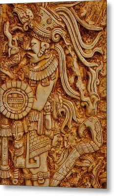 Mayan Indian Warrior Metal Print