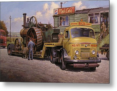 May's Transport Cafe. Metal Print by Mike  Jeffries
