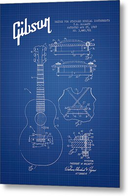 Mccarty Gibson Stringed Instrument Patent Drawing From 1969 - Bl Metal Print by Aged Pixel