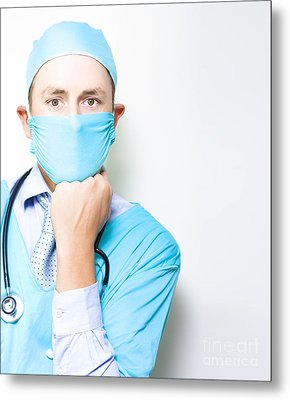 Md Or Medical Doctor Thinking With Hand To Face Metal Print by Jorgo Photography - Wall Art Gallery