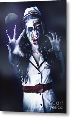 Medical Zombie Looking To Kill At Dead Of Night Metal Print