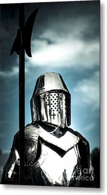 Medieval Knight Holding Weapon Metal Print by Jorgo Photography - Wall Art Gallery