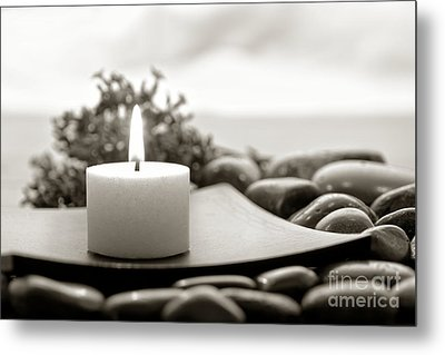 Meditation Candle Metal Print by Olivier Le Queinec