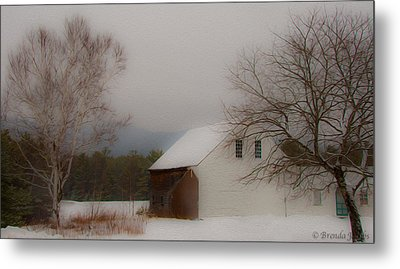 Metal Print featuring the photograph Melvin Village Barn In Winter by Brenda Jacobs