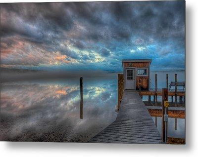 Melvin Village Marina In The Fog Metal Print by Brenda Jacobs