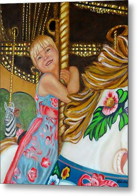 Metal Print featuring the painting Merry-go-round by Sharon Schultz