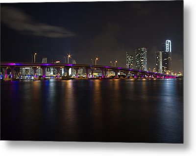 Miami Night Skyline Metal Print by Andres Leon