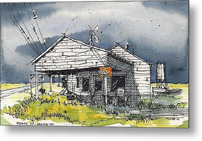 Metal Print featuring the mixed media Midway Texas Fillin' Station by Tim Oliver
