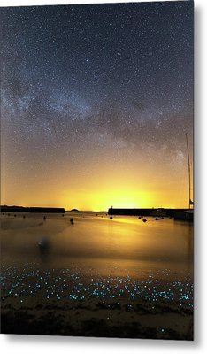 Milky Way Over Bioluminescent Plankton Metal Print by Laurent Laveder