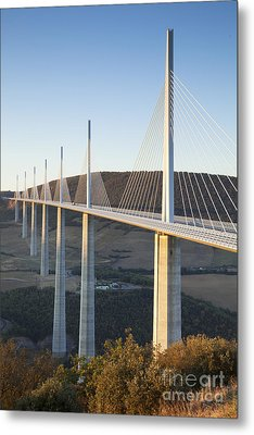 Millau Viaduct At Sunrise Midi-pyrenees France Metal Print by Colin and Linda McKie