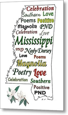 Mississippi Magnolia Love Metal Print by Patricia Neely-Dorsey